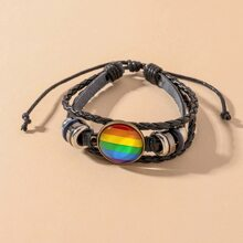 PU Leder Armband mit Regenbogen Streifen Muster