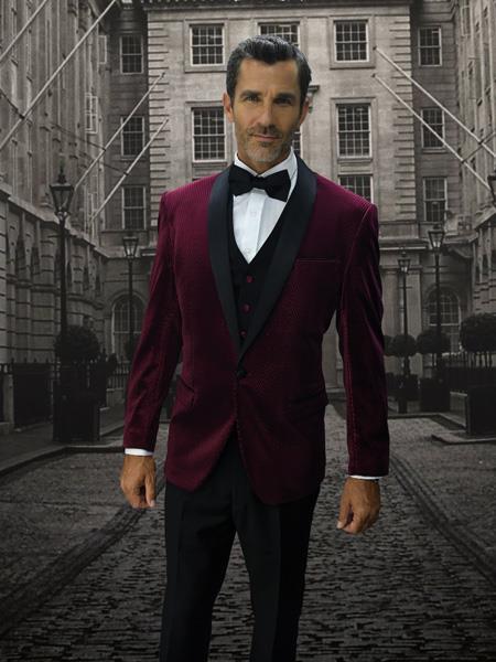 Alberto Nardoni Mens Velvet Suit Jacket & Pants (Matching ) Burgundy