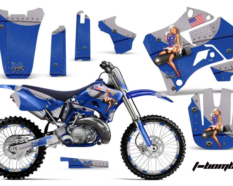 AMR Racing Graphics MX-NP-YAM-YZ125-YZ250-96-01-TB U Kit Decal Sticker Wrap + # Plates For Yamaha YZ125 YZ250 1996-2001áTBOMBER BLUE