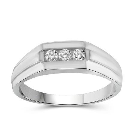 Mens 1/4 CT. T.W. Genuine White Diamond 10K Gold Fashion Ring, 11 , No Color Family