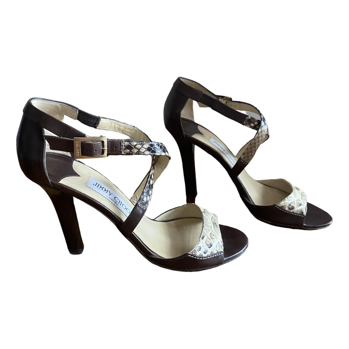 Jimmy Choo Emily Brown Python Sandals for Women 38.5 EU