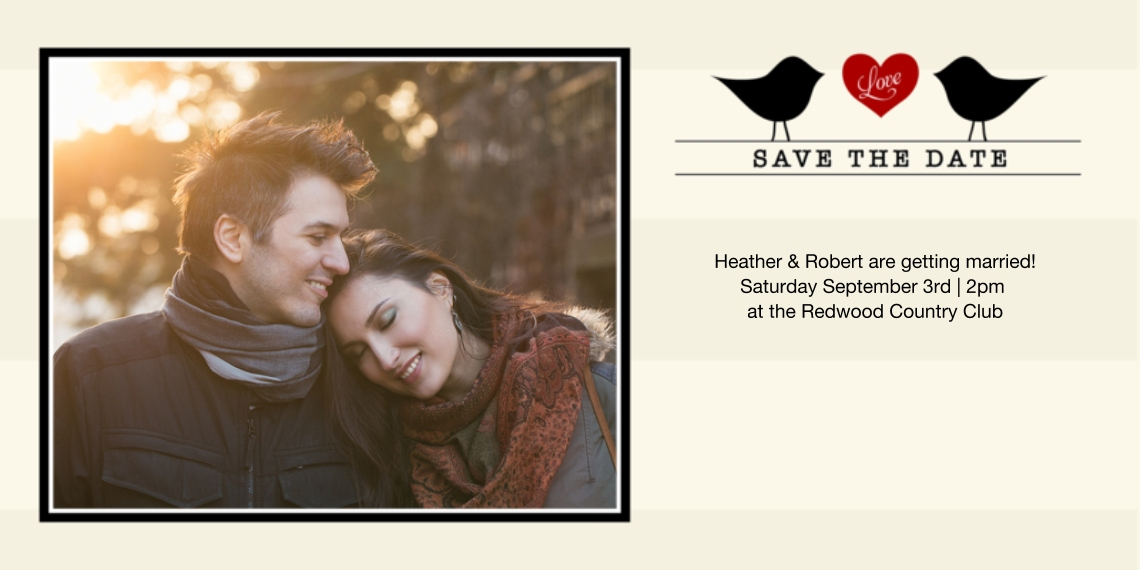 Save the Date Flat Glossy Photo Paper Cards with Envelopes, 4x8, Card & Stationery -Betrothed Birds