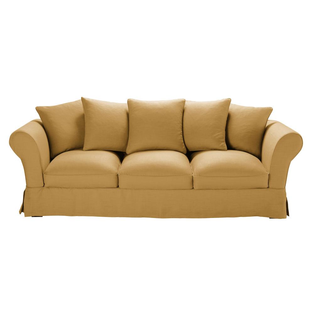 4/5-Sitzer-Sofa mit ockerfarbenem Leinen-Crinkle-Bezug Roma