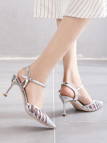 Milanoo Zapatos de mujer Tela de lentejuelas plateadas Punta puntiaguda Tacon de aguja Bombas de mujer