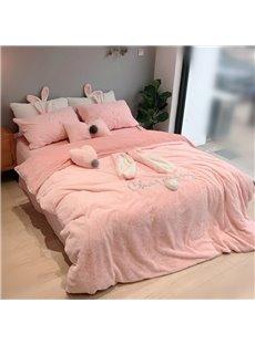 Rabbit Ears Flannel Duvet Cover Set Princess Style Pink 4-Piece Fleece Bedding Sets