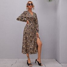 All Over Print Split Thigh Knot Side Wrap Dress