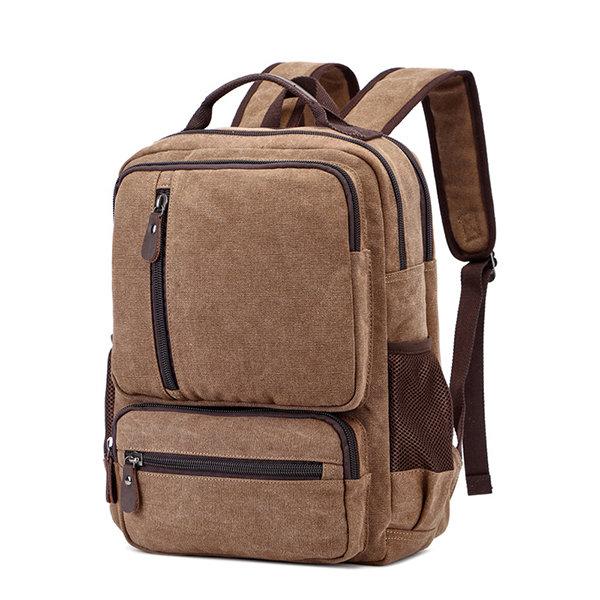 Vintage Canvas Outdoor Travel 16 Inch Laptop Bag Backpack For Men