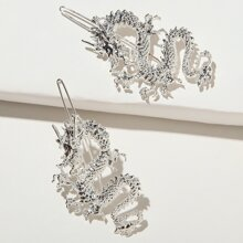 2pcs Dragon Decor Hair Clip