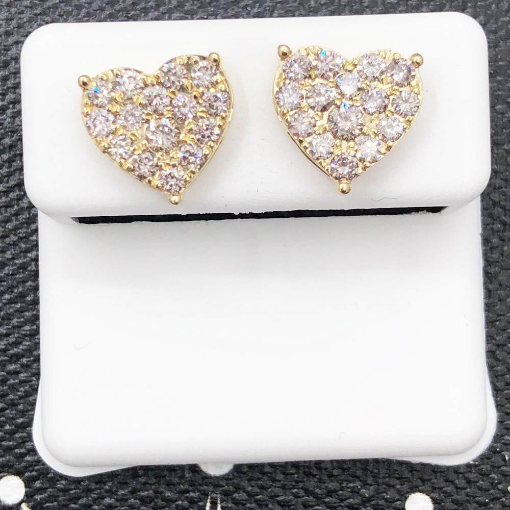 Heart 1.00cttw Diamond Earrings 14K Yellow Gold