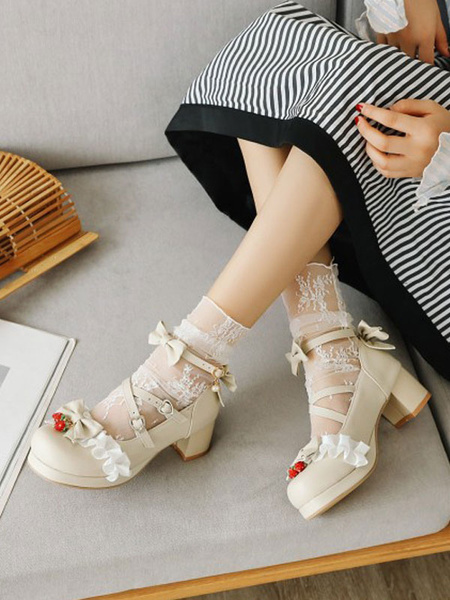 Milanoo Sweet Lolita Footwear Bows Ruffles Strawberry Round Toe PU Leather Lolita Shoes