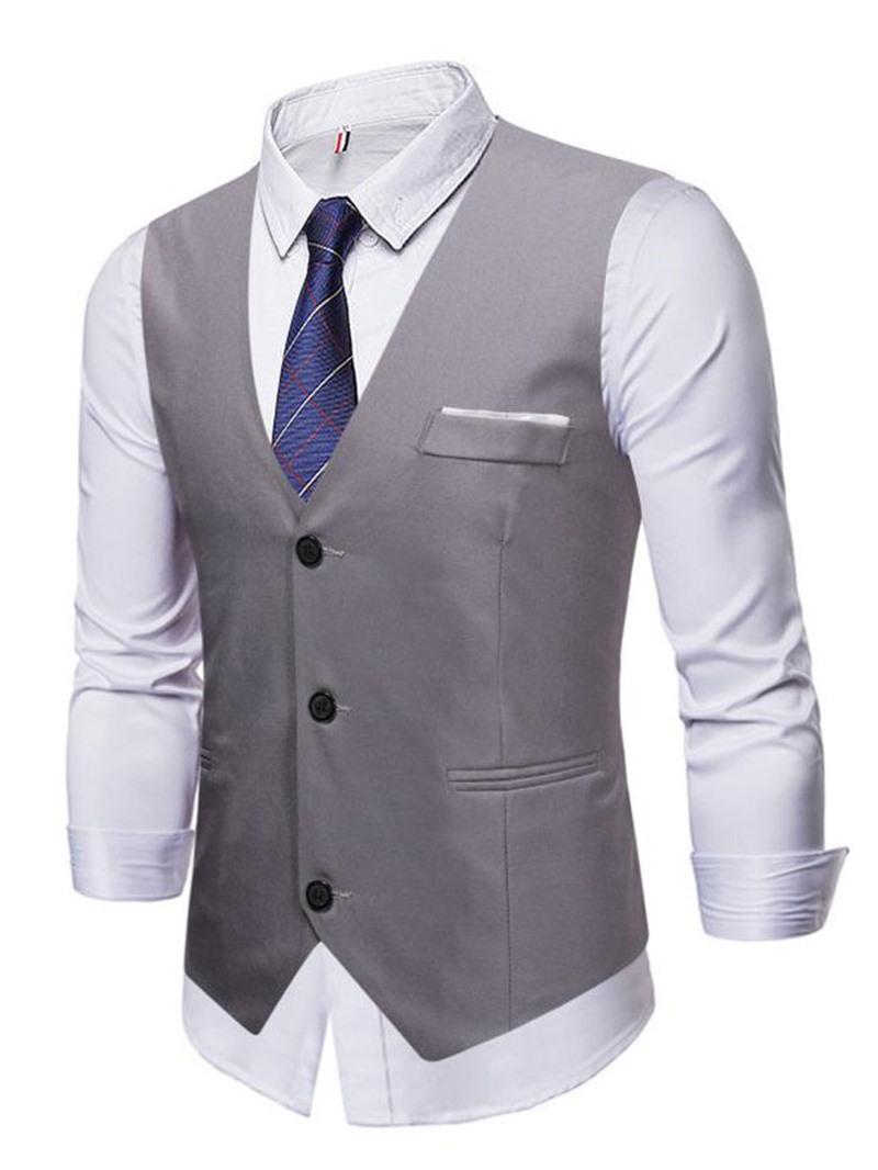 Ericdress V-Neck Single-Breasted Fall Waistcoat