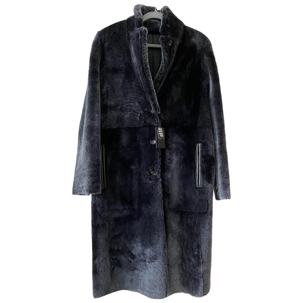 Joseph - Manteau   pour femme en cuir - marine