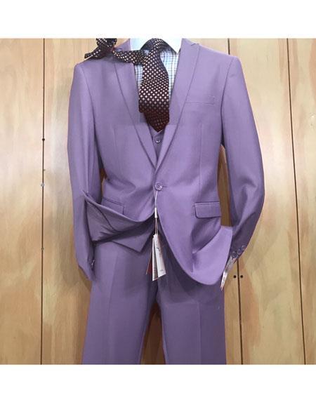 Mens 1 button style Peak Lapel Vested Slim fitted Suit Violet