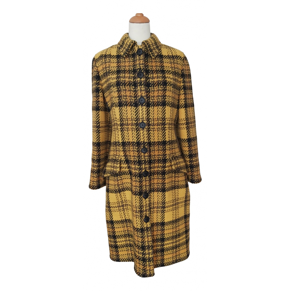 Valentino Garavani \N Yellow Wool coat for Women 38 FR