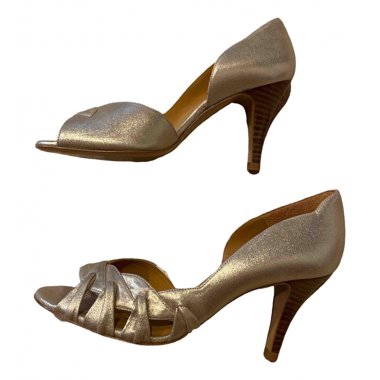 Sézane \N Gold Leather Heels for Women 39 EU