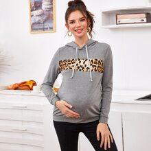 Maternity Kapuze mit Kontrast und Leopard Muster Einsatz