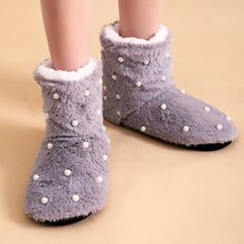 Faux Pearl Decor Fluffy Boots