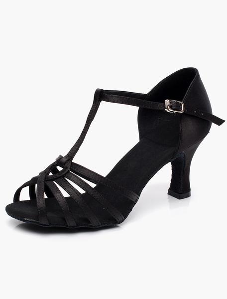 Milanoo Zapatos de Salon de Baile de Saten Negro con Punta Abierta 2020 Tipo de T Zapatos de Baile Latino para Mujer Zapatos de Salon de Baile