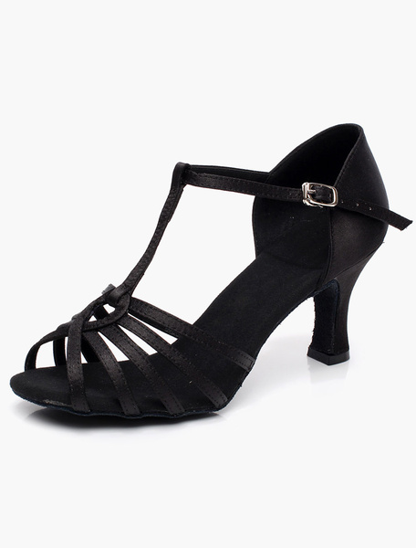 Milanoo Satin Ballroom Shoes Black Open Toe T Tpe Latin Dance Shoes Women Ballroom Shoes