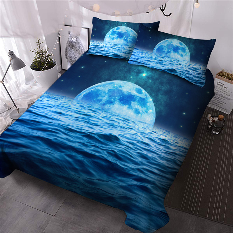 Blue Moon in The Water Comforter Set Reactive Printing Machine Wash Three-Piece Set Polyester Bedding Sets Ultra-soft Microfiber No-fading Twin Full Q