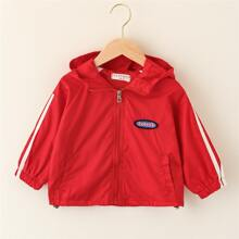 Toddler Girls Side Striped Letter Patched Hooded Windbreaker Jacket