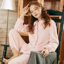 Flannel Contrast Lace Button Front  PJ Set