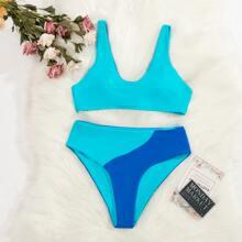 Bikini Badeanzug mit Farbblock