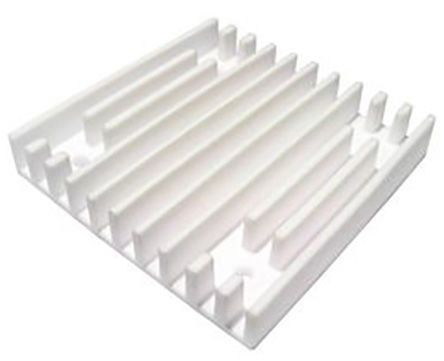 SPREADFAST Heatsink, Universal Square Ceramic, 2.4 °C/W @ 400 lfm, 4.3 °C/W @ 100 lfm, 70 x 70 x 12mm, Adhesive, Screw, White