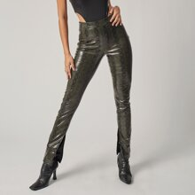 Split Hem Snakeskin Faux Leather Pants