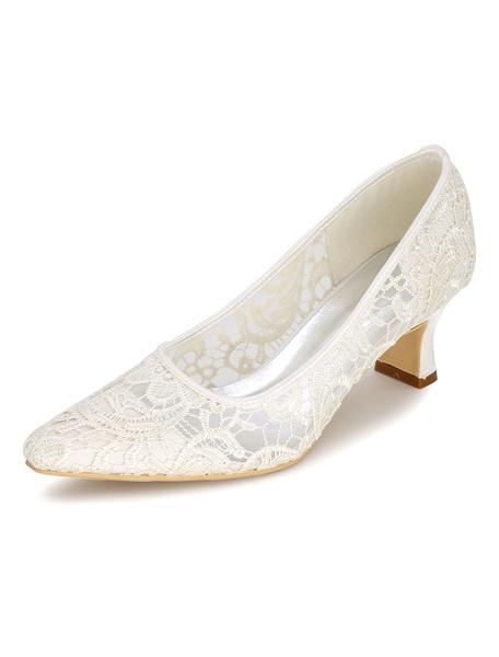 Milanoo Lace Wedding Shoes Women's Slip-On Chunky Heel Bridal Shoes