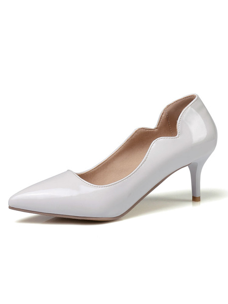 Milanoo Nude Kitten Heels Women Dress Shoes Pointed Toe Slip On Pumps