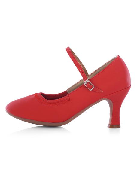 Milanoo Zapatos de bailes latinos de PU de tacon gordo para baile de puntera redonda