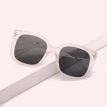 Studded Decor Acrylic Frame Sunglasses