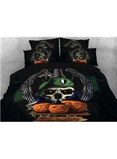Vivilinen Halloween Pumpkin and Skull Printed 3D 4-Piece Bedding Sets/Duvet Covers
