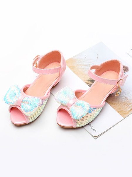 Milanoo Flower Girl Shoes Silver Peep Toe Bows Party Shoes Sequined Pageant Shoes For Kids