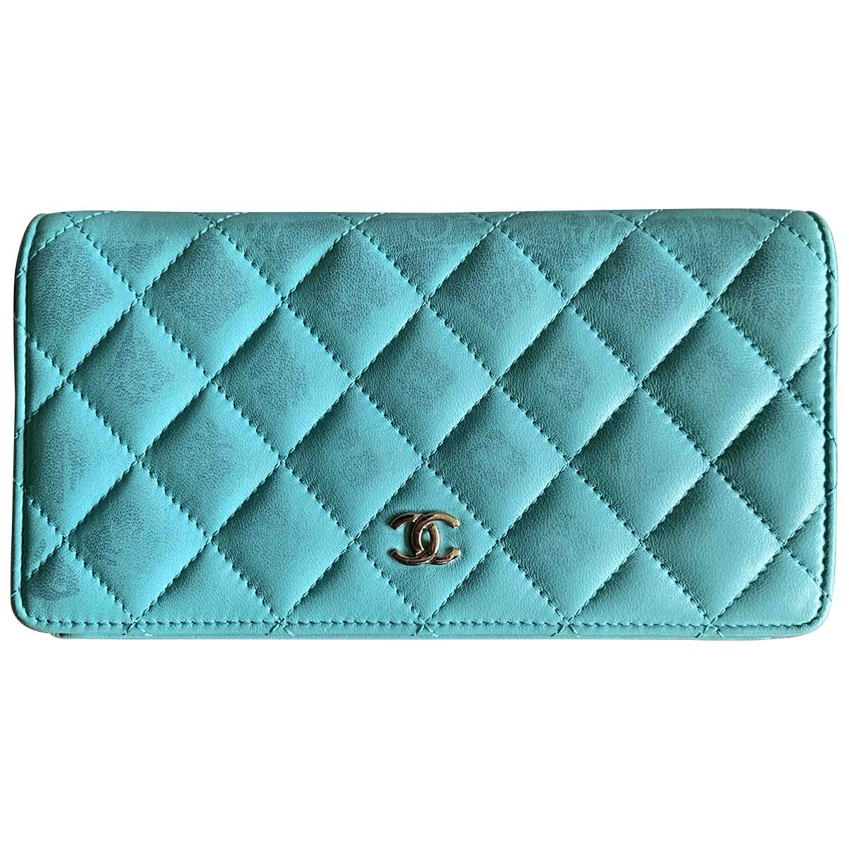 Chanel - Portefeuille Timeless/Classique pour femme en cuir - turquoise