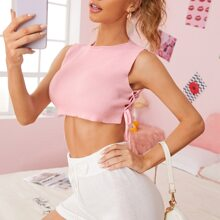 Lace Up Knot Side Crop Knit Top