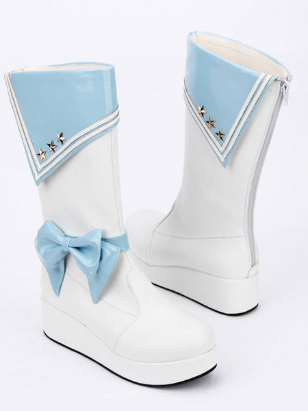 Milanoo Black Lolita Shoes Round Toe Bow Lolita Rain Boots For Women