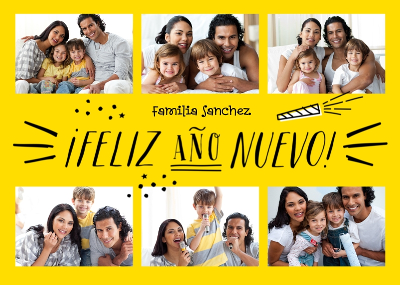 New Year's Flat Matte Photo Paper Cards with Envelopes, 5x7, Card & Stationery -Sunny Spanish New Year