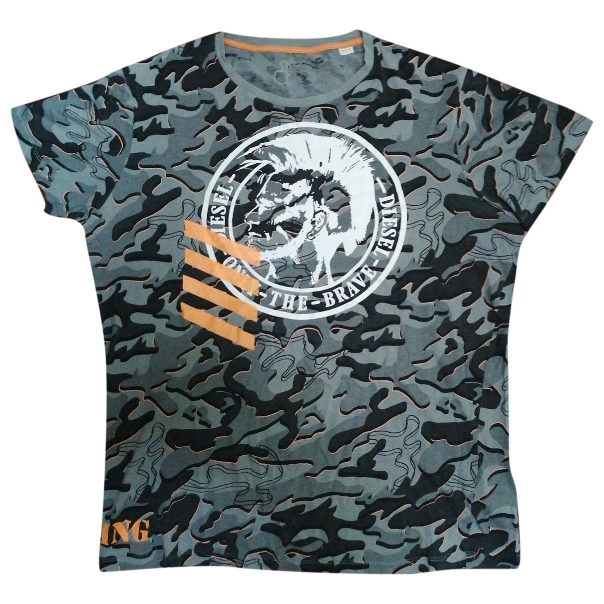 Diesel - Tee shirts   pour homme en coton - gris