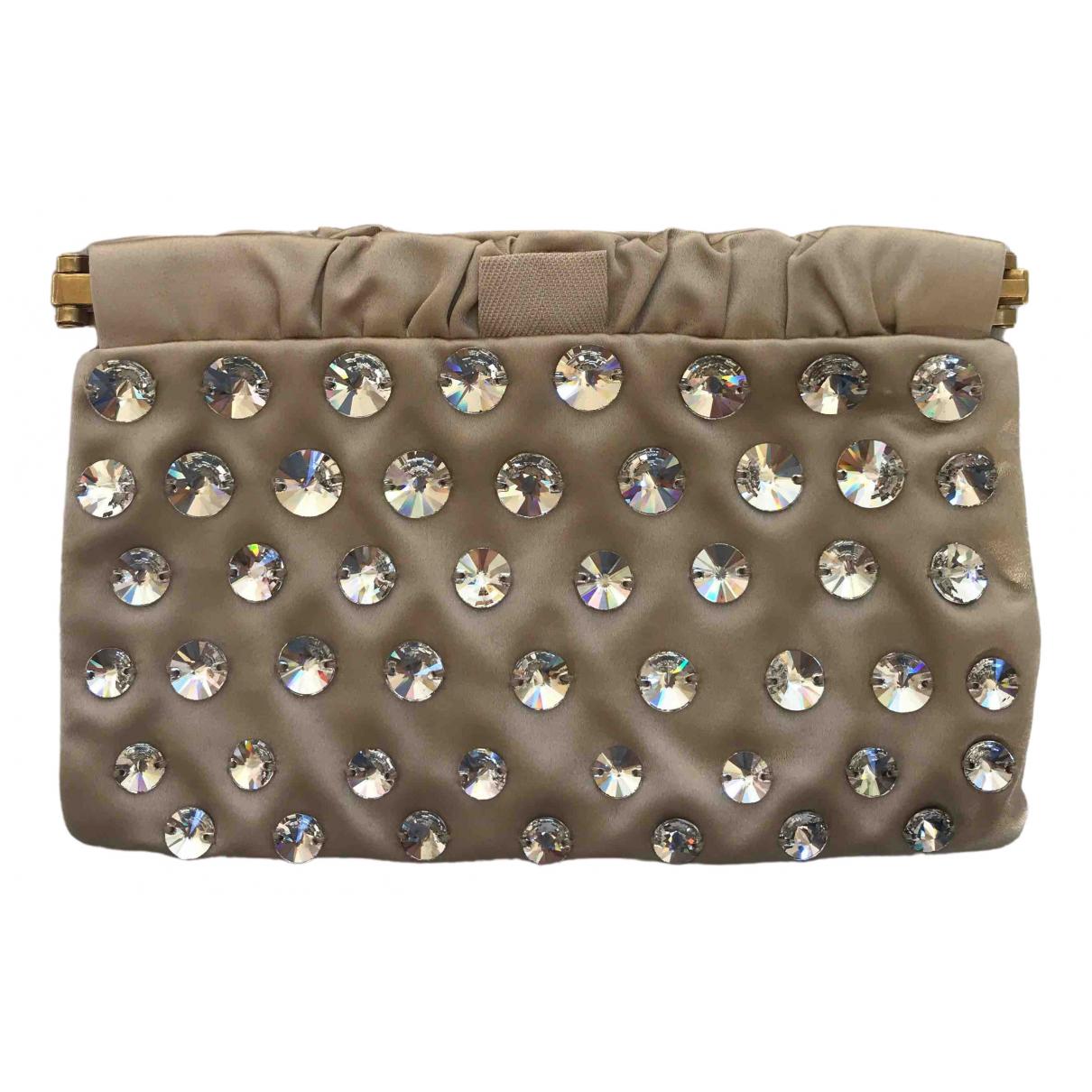 Miu Miu Miu Crystal Gold Silk Clutch bag for Women \N