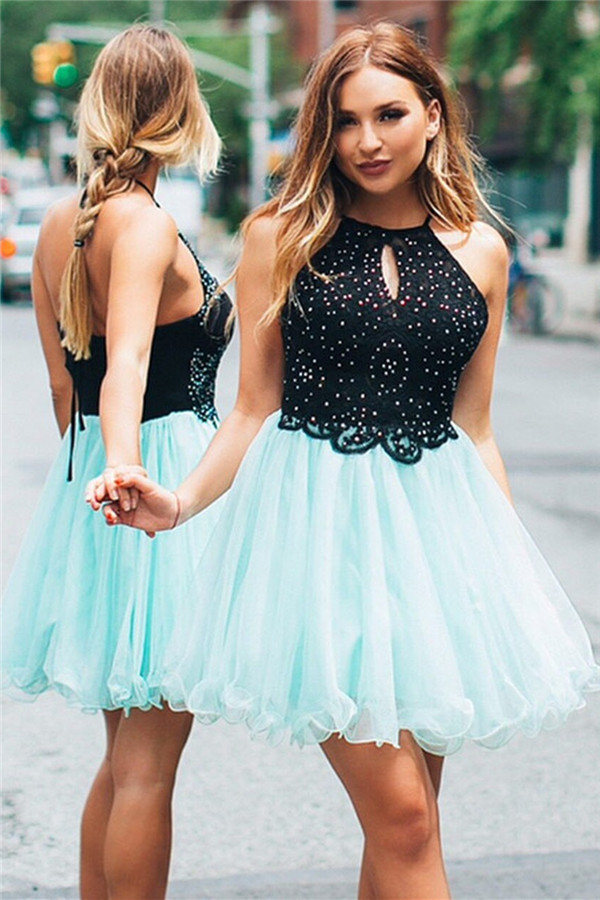 A-line Halter Sleeveless Homecoming Dress | Backless Knee Length Party Gowns