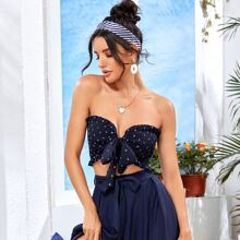 Frill Trim Shirred Knotted Anchor Tube Top