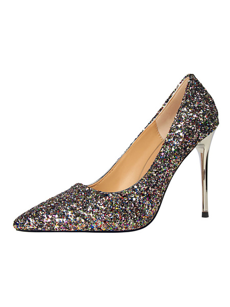 Milanoo Zapatos de novia Zapatos de tacon alto de tacon de stiletto de puntera puntiaguada de tela brillante de lujo