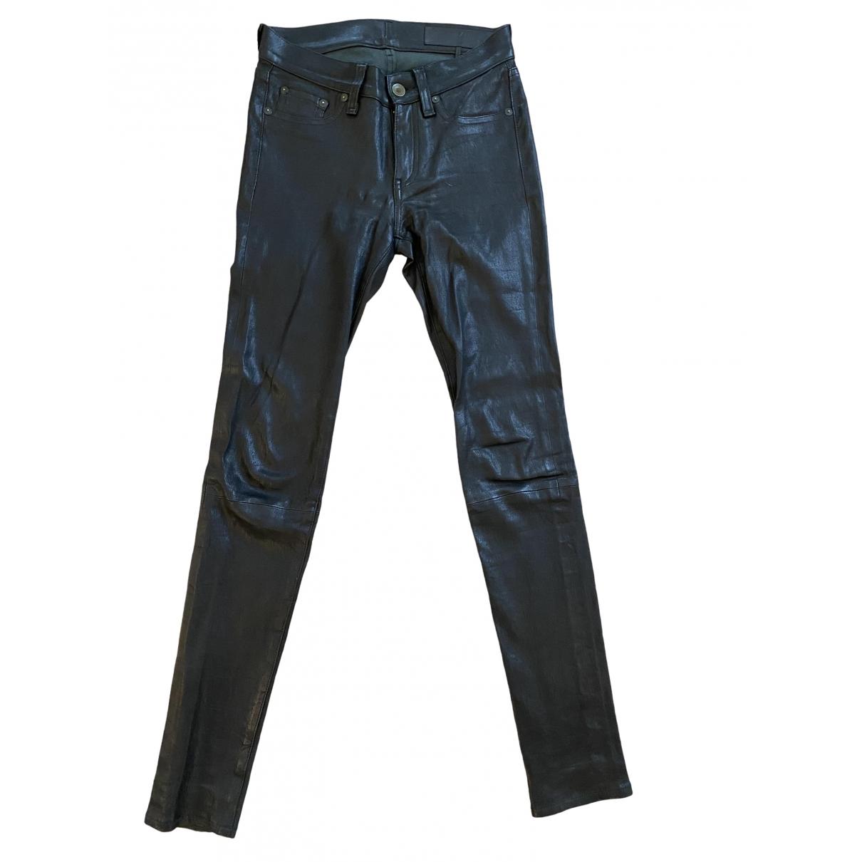 Rag & Bone \N Black Leather Trousers for Women 34 FR