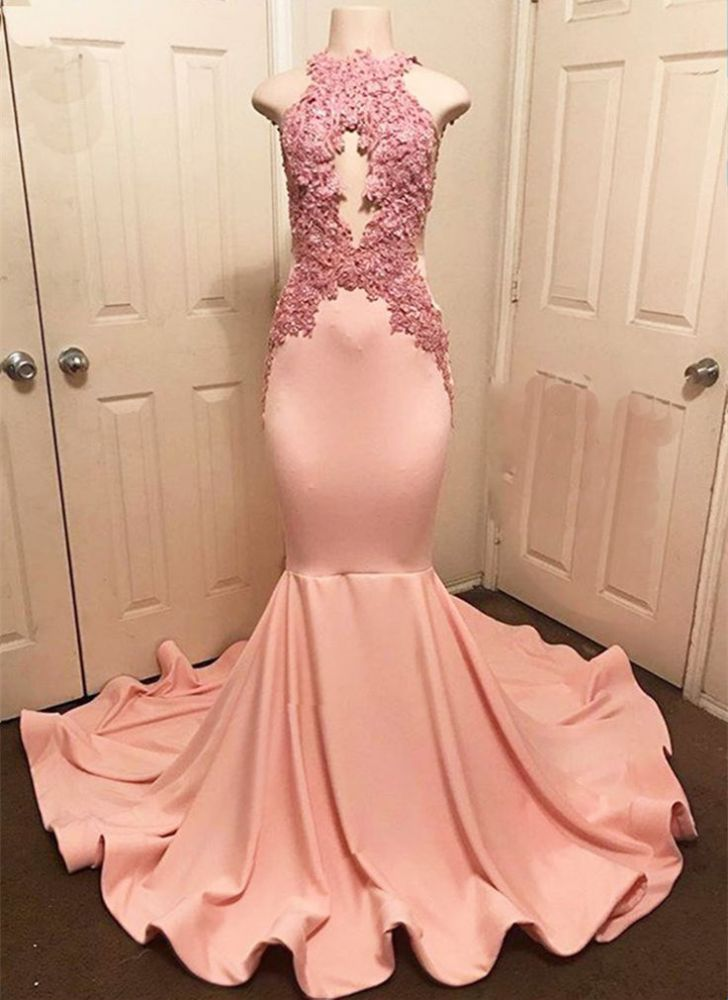 Halter Pink Lace Dress Dress | Robes Formelles Sirene