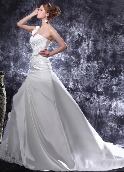 Milanoo Vestido de novia de saten blanco de Linea A de cola larga de estilo atractivo