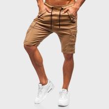 Men Flap Pocket Drawstring Shorts