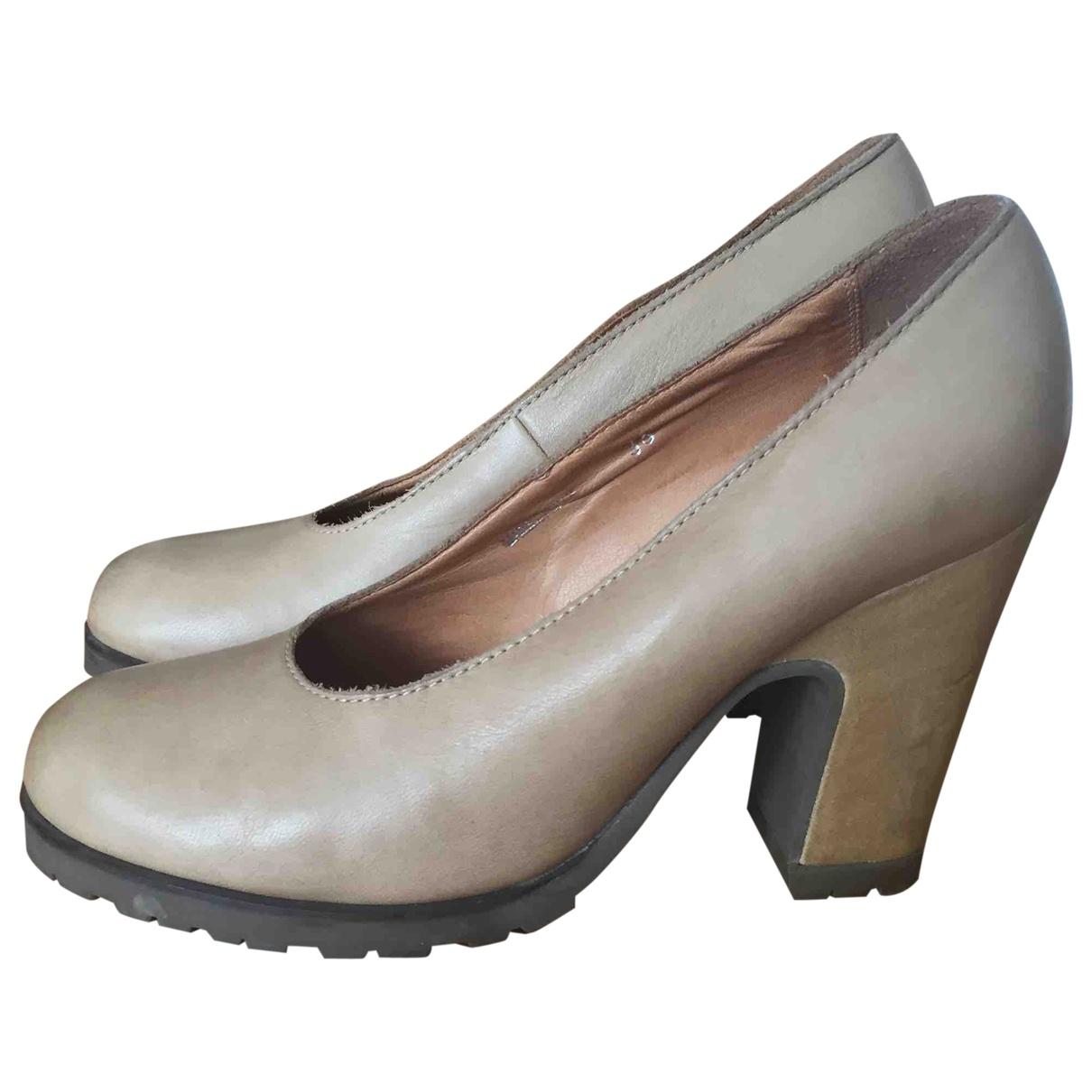 Mm6 - Escarpins   pour femme en cuir - beige