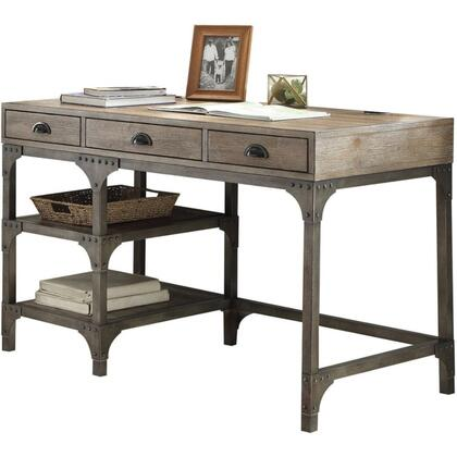 BM185351 Wood And Metal Desk With Three Drawers And Two Side Shelves  Oak Brown And